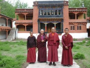 Shang monastery with Ani Dolma and three monks copy